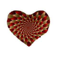 Fractal Red Petal Spiral Standard 16  Premium Flano Heart Shape Cushions by Amaryn4rt