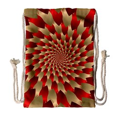 Fractal Red Petal Spiral Drawstring Bag (large) by Amaryn4rt
