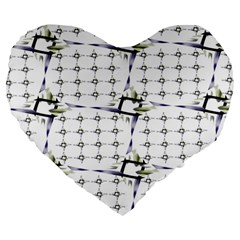 Fractal Design Pattern Large 19  Premium Heart Shape Cushions by Amaryn4rt
