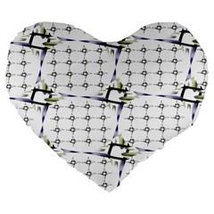 Fractal Design Pattern Large 19  Premium Flano Heart Shape Cushions by Amaryn4rt