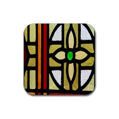 A Detail Of A Stained Glass Window Rubber Square Coaster (4 Pack)  by Amaryn4rt