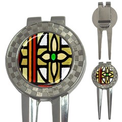 A Detail Of A Stained Glass Window 3 In 1 Golf Divots by Amaryn4rt