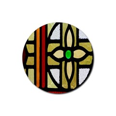A Detail Of A Stained Glass Window Rubber Coaster (round)  by Amaryn4rt