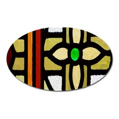 A Detail Of A Stained Glass Window Oval Magnet by Amaryn4rt