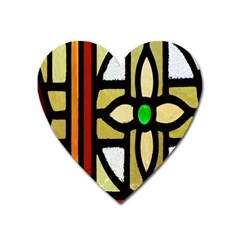 A Detail Of A Stained Glass Window Heart Magnet by Amaryn4rt