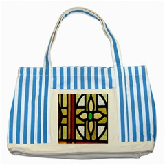 A Detail Of A Stained Glass Window Striped Blue Tote Bag by Amaryn4rt