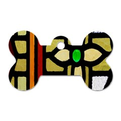 A Detail Of A Stained Glass Window Dog Tag Bone (two Sides) by Amaryn4rt
