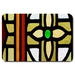 A Detail Of A Stained Glass Window Large Doormat  by Amaryn4rt
