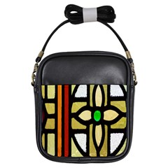 A Detail Of A Stained Glass Window Girls Sling Bags by Amaryn4rt