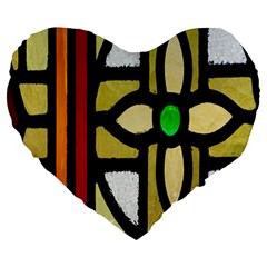 A Detail Of A Stained Glass Window Large 19  Premium Heart Shape Cushions by Amaryn4rt