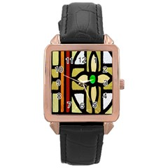 A Detail Of A Stained Glass Window Rose Gold Leather Watch  by Amaryn4rt