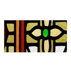 A Detail Of A Stained Glass Window Satin Wrap by Amaryn4rt