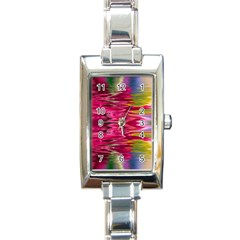 Abstract Pink Colorful Water Background Rectangle Italian Charm Watch by Amaryn4rt