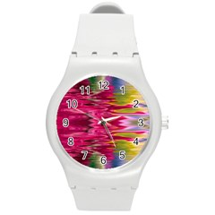 Abstract Pink Colorful Water Background Round Plastic Sport Watch (m) by Amaryn4rt
