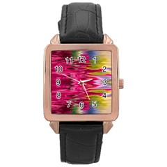 Abstract Pink Colorful Water Background Rose Gold Leather Watch  by Amaryn4rt