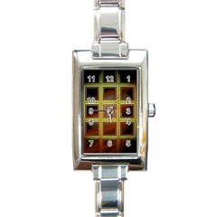 Drawing Of A Color Fractal Window Rectangle Italian Charm Watch by Amaryn4rt