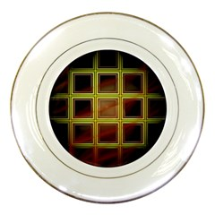 Drawing Of A Color Fractal Window Porcelain Plates by Amaryn4rt