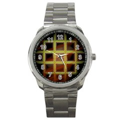 Drawing Of A Color Fractal Window Sport Metal Watch by Amaryn4rt