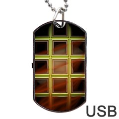 Drawing Of A Color Fractal Window Dog Tag Usb Flash (two Sides) by Amaryn4rt