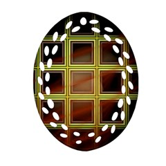 Drawing Of A Color Fractal Window Oval Filigree Ornament (two Sides) by Amaryn4rt