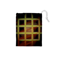 Drawing Of A Color Fractal Window Drawstring Pouches (small)  by Amaryn4rt
