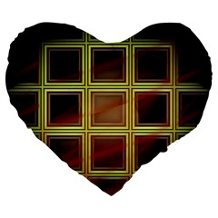 Drawing Of A Color Fractal Window Large 19  Premium Flano Heart Shape Cushions by Amaryn4rt