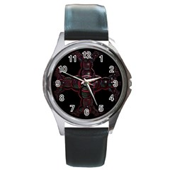 Fractal Red Cross On Black Background Round Metal Watch