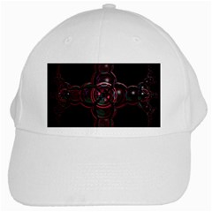 Fractal Red Cross On Black Background White Cap by Amaryn4rt
