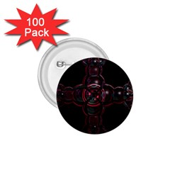 Fractal Red Cross On Black Background 1 75  Buttons (100 Pack)  by Amaryn4rt