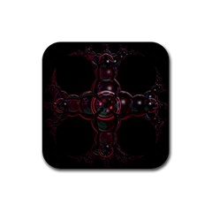 Fractal Red Cross On Black Background Rubber Square Coaster (4 Pack)  by Amaryn4rt