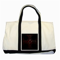 Fractal Red Cross On Black Background Two Tone Tote Bag by Amaryn4rt