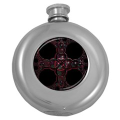 Fractal Red Cross On Black Background Round Hip Flask (5 Oz) by Amaryn4rt