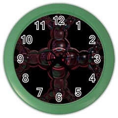 Fractal Red Cross On Black Background Color Wall Clocks by Amaryn4rt