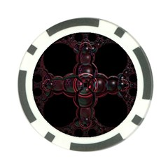 Fractal Red Cross On Black Background Poker Chip Card Guard (10 Pack) by Amaryn4rt