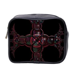 Fractal Red Cross On Black Background Mini Toiletries Bag 2 Side by Amaryn4rt