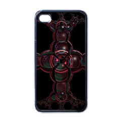 Fractal Red Cross On Black Background Apple Iphone 4 Case (black) by Amaryn4rt