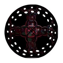 Fractal Red Cross On Black Background Ornament (round Filigree) by Amaryn4rt