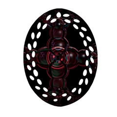 Fractal Red Cross On Black Background Oval Filigree Ornament (two Sides) by Amaryn4rt