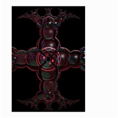Fractal Red Cross On Black Background Small Garden Flag (two Sides) by Amaryn4rt