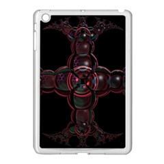 Fractal Red Cross On Black Background Apple Ipad Mini Case (white) by Amaryn4rt