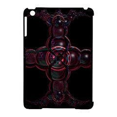 Fractal Red Cross On Black Background Apple Ipad Mini Hardshell Case (compatible With Smart Cover) by Amaryn4rt