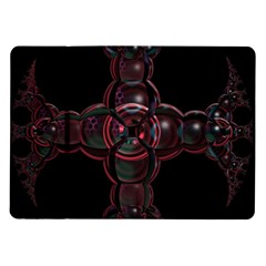 Fractal Red Cross On Black Background Samsung Galaxy Tab 10 1  P7500 Flip Case by Amaryn4rt