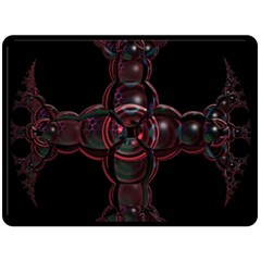 Fractal Red Cross On Black Background Double Sided Fleece Blanket (large)  by Amaryn4rt