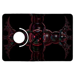 Fractal Red Cross On Black Background Kindle Fire Hdx Flip 360 Case by Amaryn4rt