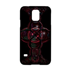 Fractal Red Cross On Black Background Samsung Galaxy S5 Hardshell Case  by Amaryn4rt