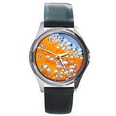 Bubbles Background Round Metal Watch by Amaryn4rt