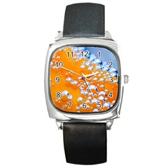 Bubbles Background Square Metal Watch by Amaryn4rt