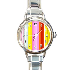 Multi Colored Bright Stripes Striped Background Wallpaper Round Italian Charm Watch by Amaryn4rt