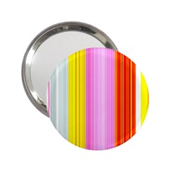 Multi Colored Bright Stripes Striped Background Wallpaper 2 25  Handbag Mirrors by Amaryn4rt