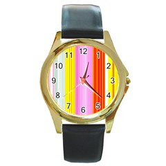 Multi Colored Bright Stripes Striped Background Wallpaper Round Gold Metal Watch by Amaryn4rt